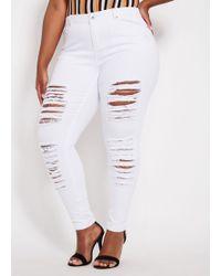 fefd30b562884 Ashley Stewart - Plus Size Destructed White Basic Skinny Jean - Lyst