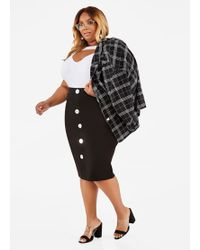 08fd418f31b Lyst - Ashley Stewart Plus Size Gold Stripe Pleated Full Skirt in ...
