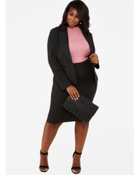4c158f5eac3 Lyst - The Limited Plus Size Ponte Pencil Skirt in Gray