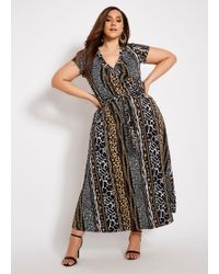 b961578c4fd Taylor Dresses Floral Print Mixed Media Faux Wrap Maxi Dress - Lyst