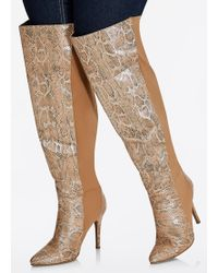 b405730cb01 Lyst - Charlotte russe Wide Width Flat Over-the-knee Boots in Brown