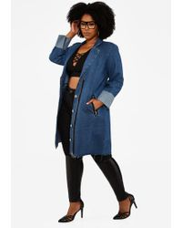 9134ef88af2 Ashley Stewart - Plus Size Rolled Cuff Long Denim Coat - Lyst
