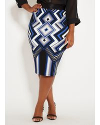 936ad1d1ee1 Lyst - Ashley Stewart Plus Size Tiered Hi Lo Striped Skirt in Blue