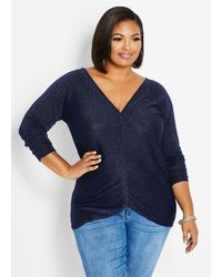 Ashley Stewart - Plus Size Ruched Lurex Cutout Sweater - Lyst