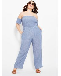 299f284eade54 Ashley Stewart - Plus Size Smock Top Wide Leg Jumpsuit - Lyst