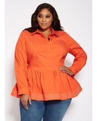 bc0b14d7e55 Lyst - Ashley Stewart Plus Size Mock Neck Lace Sleeve Knit Peplum in ...