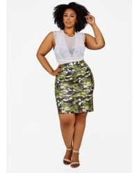 b6becbf86e1 Ashley Stewart - Plus Size Faux Leather Camo Mini Skirt - Lyst