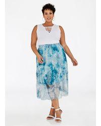 Ashley Stewart - Plus Size Tie Dye Paisley Mesh Skirt - Lyst