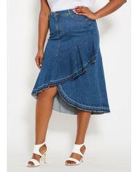 2b617f480fc0a Ashley Stewart - Plus Size Long Denim Skirt With Ruffle Trim - Lyst
