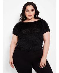 Ashley Stewart - Plus Size Eyelash Knit Tee - Lyst