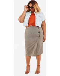 Ashley Stewart - Plus Size Plaid Print Wrap Skirt - Lyst