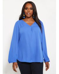 75ed1e3902a Lyst - Ashley Stewart Plus Size Hi Lo Button Front Shirt in Green ...