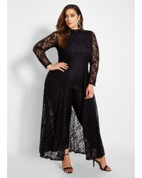 52bc010b8a46 Lyst - Ashley Stewart Plus Size Smocked Top Off Shoulder Jumpsuit in ...