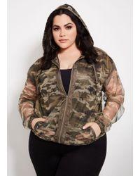 c5a6b337d8a Ashley Stewart - Plus Size Camo Print Mesh Jacket With Hood - Lyst