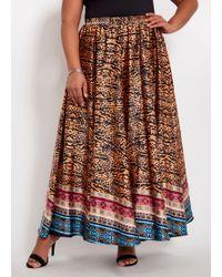 7967af4cfa Ashley Stewart Plus Size Hi Lo Floral Fit N Flare Skirt in Blue - Lyst