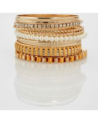 Ashley Stewart - Plus Size Gold Stone Pearl Bracelet Set - Lyst