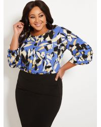 Ashley Stewart - Plus Size Printed Blouse With Tucked Sleeves - Lyst