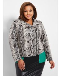 459c25c926b Lyst - Ashley Stewart Plus Size Faux Fur Sleeve Moto Jacket in Pink