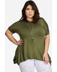 Ashley Stewart | Rolled Sleeve Necklace Top | Lyst
