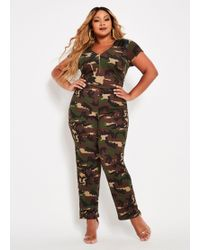 Ashley Stewart - Plus Size Tall Camo Catsuit With Pu Trim - Lyst