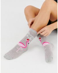 Oasis - Christmas Flamingo Socks In Gray - Lyst