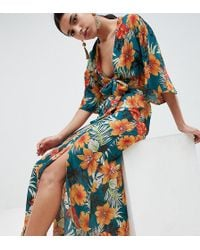 PrettyLittleThing - Tropical Print Maxi Skirt - Lyst