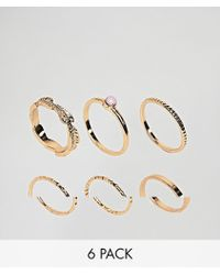 ASOS - Design Pack Of 6 Feather Band And Faux Rose Quartz Rings - Lyst