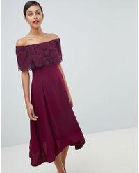 Coast - Olive Lace Midi Dress - Lyst