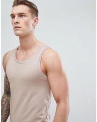 ASOS - Muscle Fit Vest In Beige - Lyst