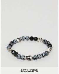 Reclaimed (vintage) - Inspired Beaded Bracelet With Skulls Exclusive At Asos - Lyst