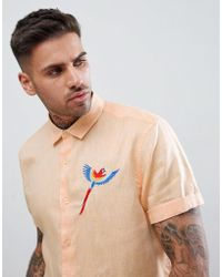 ASOS - Regular Textured Shirt With Embroidery In Pale Orange - Lyst