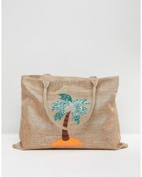 Chateau - Palm Tree Embroidered Straw Bag With Tassles - Lyst