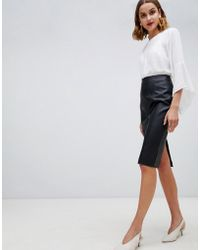 Warehouse - Faux Leather Seamed Pencil Skirt In Black - Lyst