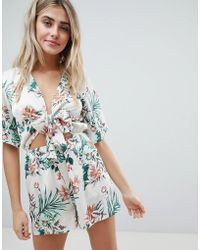 Missguided - Tropical Print Tie Front Playsuit - Lyst