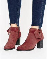 Vero Moda - Suede Bow Heel Boots - Lyst