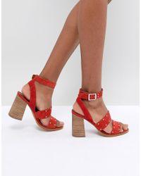 b1a6723cc48 ASOS Asos Heron Wide Fit Heeled Sandals in Metallic - Lyst