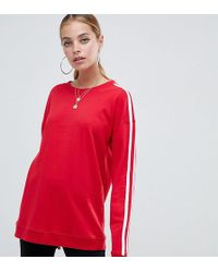Missguided - Contrast Sleeve Sweatshirt In Red - Lyst
