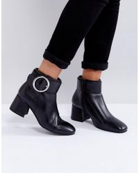 Park Lane - Buckle Mid Heel Leather Boot - Lyst