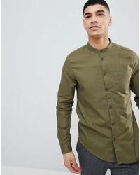 Bershka - Shirt With Grandad Collar In Khaki - Lyst