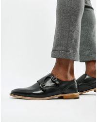 ASOS - Monk Shoes In Black Leather With Natural Sole - Lyst