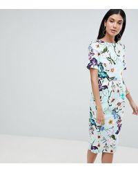 ASOS - Asos Design Tall wiggle Midi Dress In Floral Print - Lyst