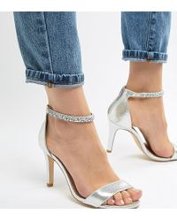 New Look - Wide Fit Bling Ankle Strap Heeled Sandal - Lyst