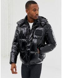 Calvin Klein - Shiny Detachable Hood Puffer Jacket In Black - Lyst