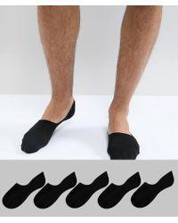 New Look - Sneaker Socks In Black And White 5 Pack - Lyst