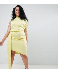 ASOS - Asos Design Curve Satin Drape Midi Dress With Sash Detail - Lyst