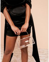 ASOS Luxe Clear Plastic Clutch Bag With Metal Handle