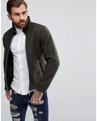 Armani Jeans - Wool Mix Zip Through Jacket Green - Lyst