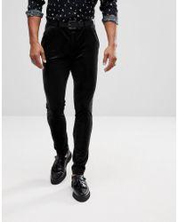 ASOS - Super Skinny Pants In Black Velvet - Lyst