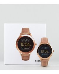 Fossil - Q Ftw6005 Venture Leather Smart Watch In Tan - Lyst