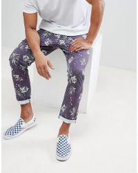 Skinny Trousers In Vintage Palm Tree Print - Navy Asos Cheap Sale Purchase Visit Sale Online L7tpFH